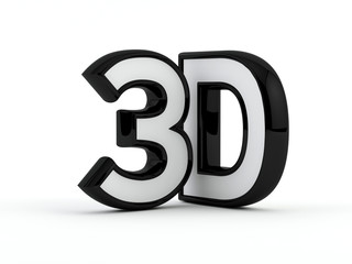 three dimensional - 3D text - Black outline