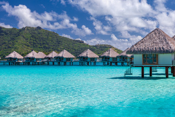 Overwater bungalows in french polynesia. Moorea,