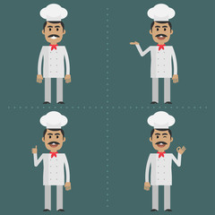 Adult cook shows gestures