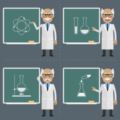 Old scientist indicates to chalkboard