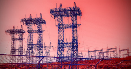 Futuristic industrial vision, pylons and transmission power line