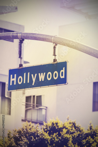 In de dag Retro Vintage picture of Hollywood street sign in Hollywood, USA.