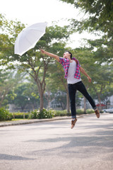 Flying with umbrella