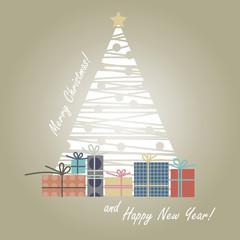 Christmas tree - snowflakes-gifts-greeting