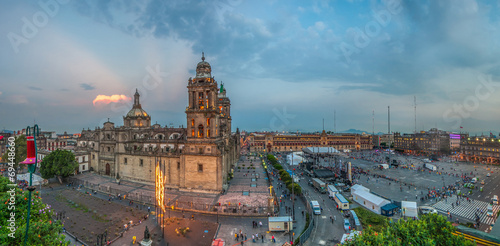 Leinwanddruck Bild Zocalo square and Metropolitan cathedral of Mexico city