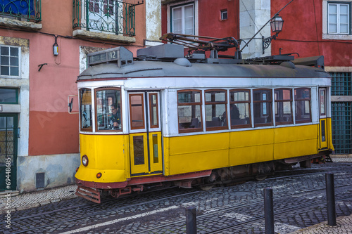 Vintage yellow tram, symbol of Lisbon, Portugal - 69448685