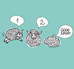 Good Night / Sketch of Three adorable sheep