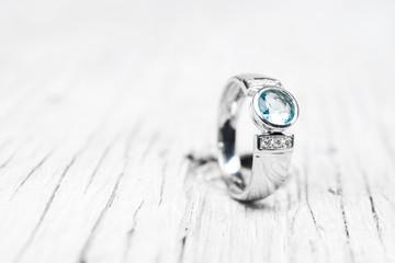 Wedding Engagement Ring Wooden Background