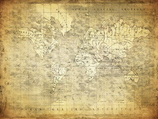 vintage map of the world 1847..