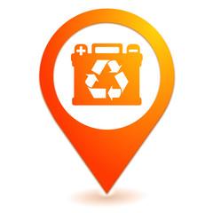 recyclage des batteries sur symbole localisation orange