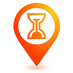 sablier sur symbole localisation orange