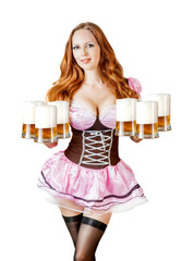 oktoberfest woman holding six beer mugs