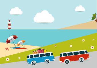 Summer illustrated background.