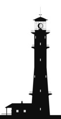 Lighthouse. Silhouette of lighthouse isolated on white