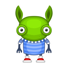 Funny Cartoon Green Alien. Vector