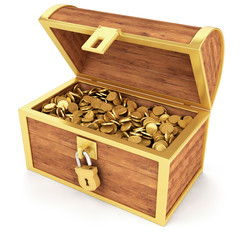 Treasure chest - Golden coins isolated