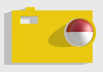 photo cam icon, sphere textured by poland flag in ojective