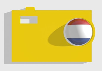 photo cam icon, sphere textured by netherlands flag in ojective