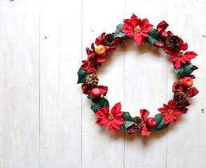 Red poinsettia Christmas wreath