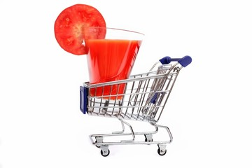 Tomato Juice in shopping cart