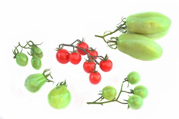 Ripe Cherry  and green unripe tomatoes