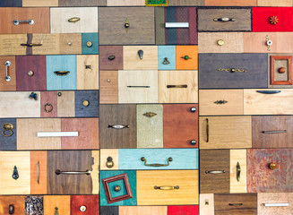 Various little colorful drawers - interior detail.