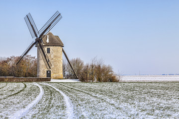 Traditional Windmill in Winter