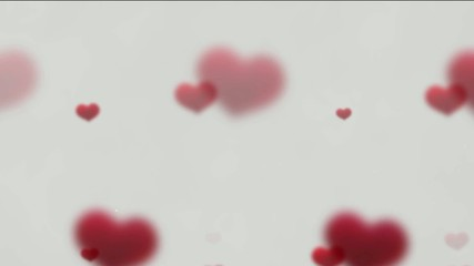 Hearts background tittle intro, moves up and disappears
