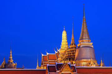Night Time of  Wat Phra Kaew Temple Grand Palace Bangkok , Thail