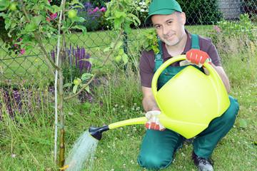 Gärtner gießt Pflanze mit Gießkanne