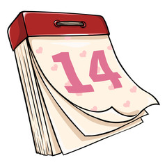 Vector Cartoon  Tear-off Calendar. Febrary 14. Valentines Day