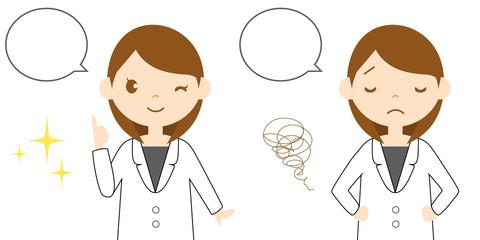 気分を表現する医療系の現場で働く女性