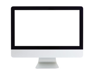 Computer with blank white screen isolated on white background