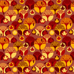 Autumn vector seamless pattern.