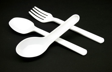 Close up of the plastic fork and spoon
