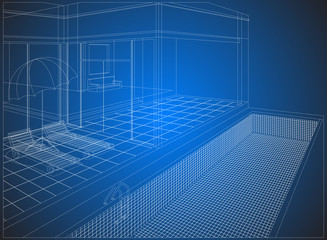 Wireframe home exterior on a blue background
