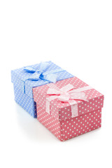 Cute little pink and blue presents boxes