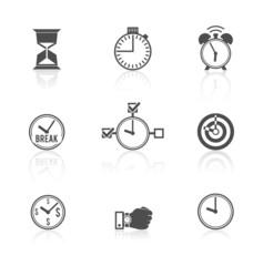 Time management clock icons set