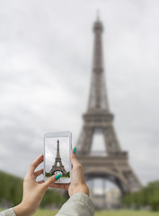 Taken pictures Eiffel Tower with mobile phone