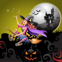 Halloween witch flying in broom