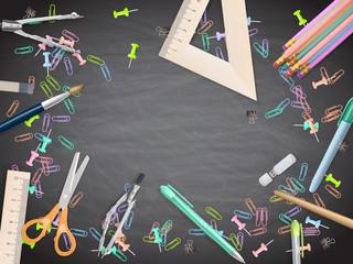 School supplies on blackboard background. EPS 10