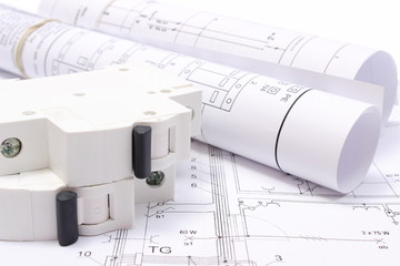 Electrical diagrams and electric fuse on construction drawing