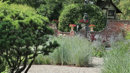 beautiful garden with a fountain