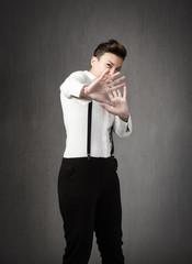 business woman stop gestures