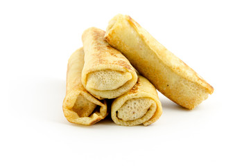 rolled pancakes isolated on white