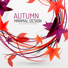 Autumn leaves and lines abstract background