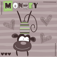 monkey love vector illustration