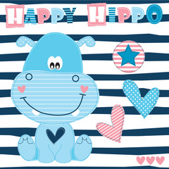 happy hippo vector illustration