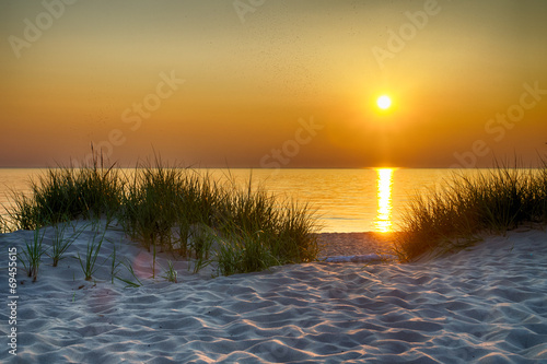 Plexiglas Strand Sunset Over Lake Michigan