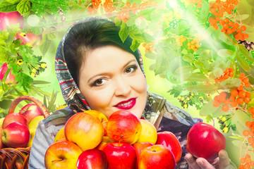 Woman with organic apple
